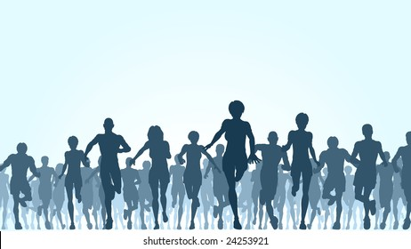 Illustration of a large group of people running (vector file also available)