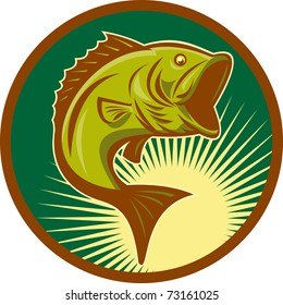 illustration of a largemouth bass fish jumping set inside circle with forest green background done in retro style