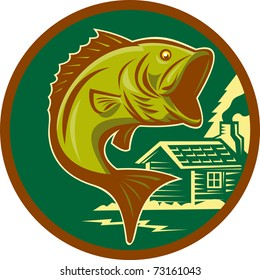 illustration of a largemouth bass fish jumping set inside circle with log cabin in background background done in retro style