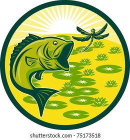 illustration of a largemouth bass jumping with dragonfly flying with lily pads and sunburst in background set inside a circle done in retro woodcut
