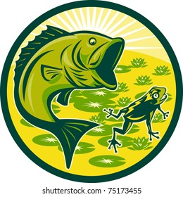 illustration of a largemouth bass jumping with frog and lily pads and sunburst in background set inside a circle done in retro woodcut