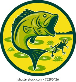 illustration of a largemouth bass jumping with frog and lily pads set inside a circle done in retro woodcut