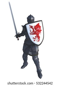 Illustration of a late Medieval knight in Italian Milanese style armour with sword and a shield painted with a red dragon, digital illustration (3d rendering)