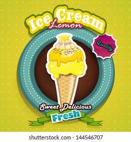 illustration of lemon ice cream