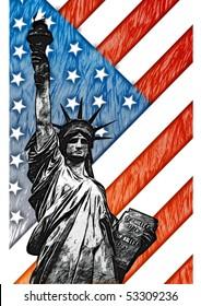 illustration of Liberty Statue on USA Flag