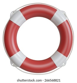 Illustration lifebuoy isolated on white background. 3d high resolution image