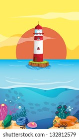 Illustration of a lighthouse in the middle of the sea