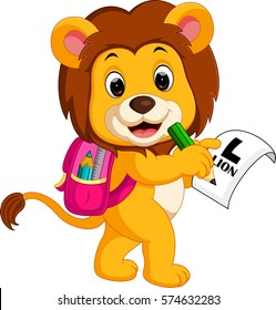 illustration of lion going to school