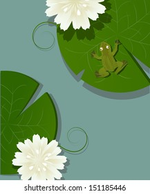 Illustration of a little frog over a lotus leave in the pod