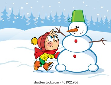 In the illustration a little girl sculpts snow funny snowman. Vector illustration done in cartoon style