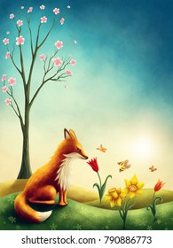 Illustration of a little red fox in spring