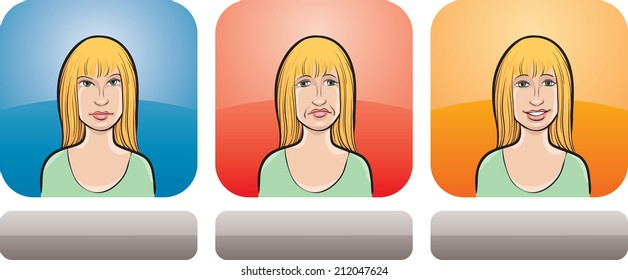 illustration of long haired woman face in three expressions: neutral, sad and happy