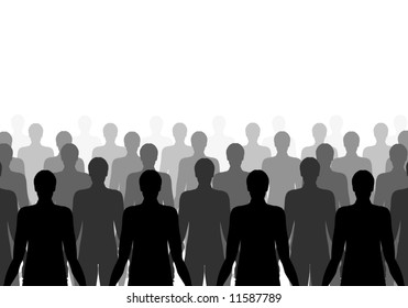 Illustration of lots of the same person in rows