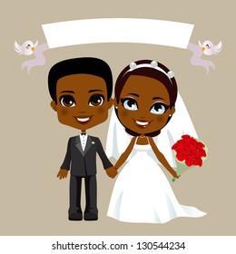 Illustration of lovely black couple wedding with white banner