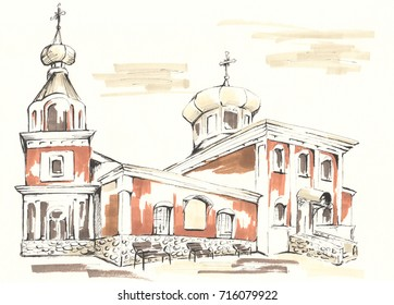 Illustration made by markers and liners. Church of the Orthodox Church.