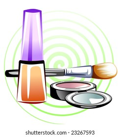 Illustration of make up products with colour design