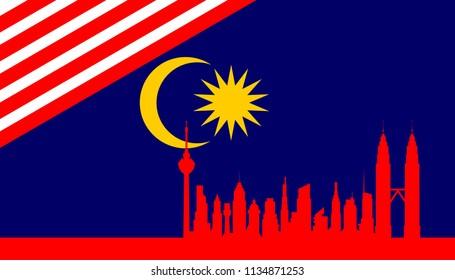 Illustration of Malaysia flag and the city of Kuala Lumpur