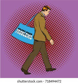 Illustration of man, businessman carrying bag with Problems lettering in retro pop art comic style.