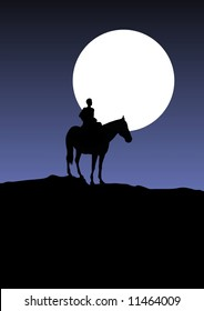 Illustration of a man on a horse with the moon in the background