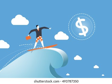 Illustration of a man on a wave of success, dollar sign, business illustration, man character, successful management, money icon