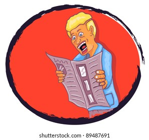 Illustration of man reading a newspaper