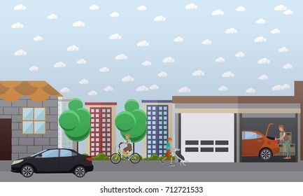 Illustration of man repairing car or carrying out car check in garage, kids riding bicycle and walking dog. Home garage flat style design element.