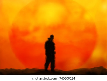 An illustration of a man standing in front of a setting sun on another planet, digital painting