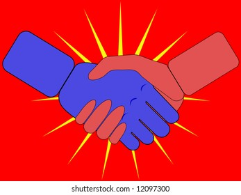 illustration of a man and woman's handshake - on red