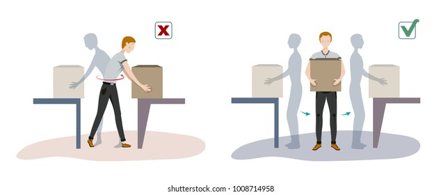 Illustration of Manual handling of loads. A man lifts up a heavy load in correct and incorrect way for his back.