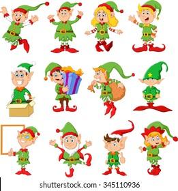 Illustration of many elfs cartoon