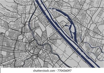 illustration map of the city of Vienna, Austria
