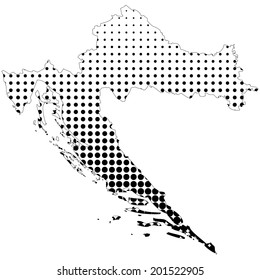 Illustration of map with halftone dots - Croatia