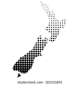 Illustration of map with halftone dots - New Zealand