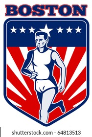 "illustration of a Marathon runner done in retro style with  stars sunburst and stripes in shield with words ""boston"""