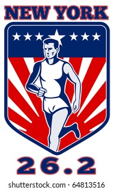"illustration of a Marathon runner done in retro style with  stars sunburst and stripes in shield with words ""marathon 26.2"""