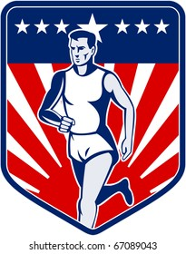 illustration of a Marathon runner done in retro style with american flag stars and stripes and sunburst in shield background
