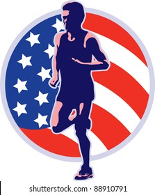 illustration of a marathon runner running jogging with American stars and stripes flag set inside circle on isolated white background done in retro style