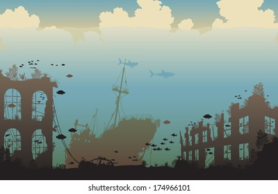 Illustration of marine life on a shipwreck and underwater city ruins