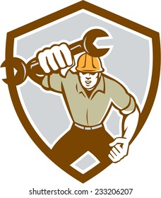 Illustration of a mechanic running holding spanner wrench pumping fist set inside shield crest on isolated background done in retro style.