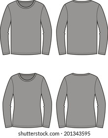 Illustration of men's and women's jumpers. Casual clothes. Front and back views. Raster version