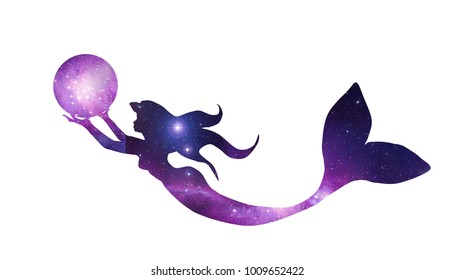 Illustration of mermaid holding a magical crystal ball. Mermaid in silhouette design.