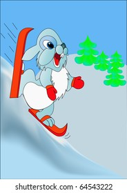 illustration merry rabbit races on with mountains