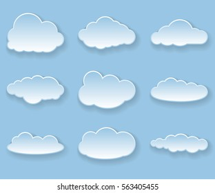 Illustration messages in the form of Cloud. Icon set.