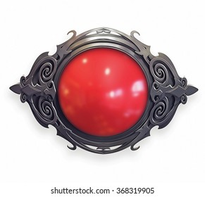 Illustration of metal baroque emblem with red gem
