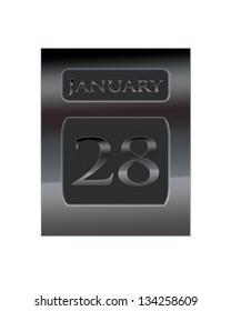 Illustration with a metal calendar January 28.