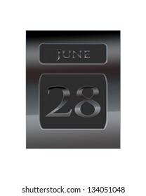 Illustration with a metal calendar June 28.