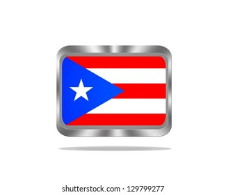 Illustration with a metal Puerto Rico flag on white background.