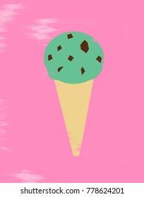 Illustration of mint chocolate chip ice cream cone
