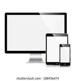 illustration modern monitor, computer, phone, tablet on a white background