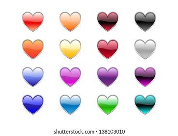 illustration of modern, shiny, heart shape buttons.